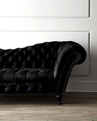 Black Recamier Leather Sofa 90.25 in 2019 | house emoji | Black sofa ...
