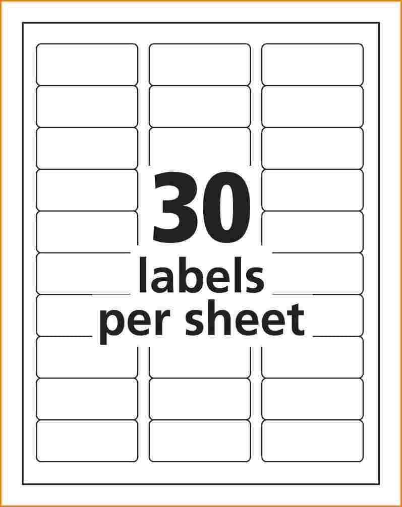 Mailing Label Templates 30 Per Sheet In