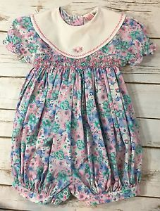 ecd1ccea8a2 Vintage 90s Floral Smocked One Piece Short Bubble Romper Baby Girl 24  Months