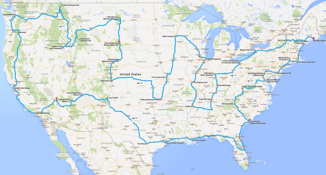 """Have you seen that image that suggests how to drive across the USA """"hitting all the major landmarks""""? Here's a better plan."""