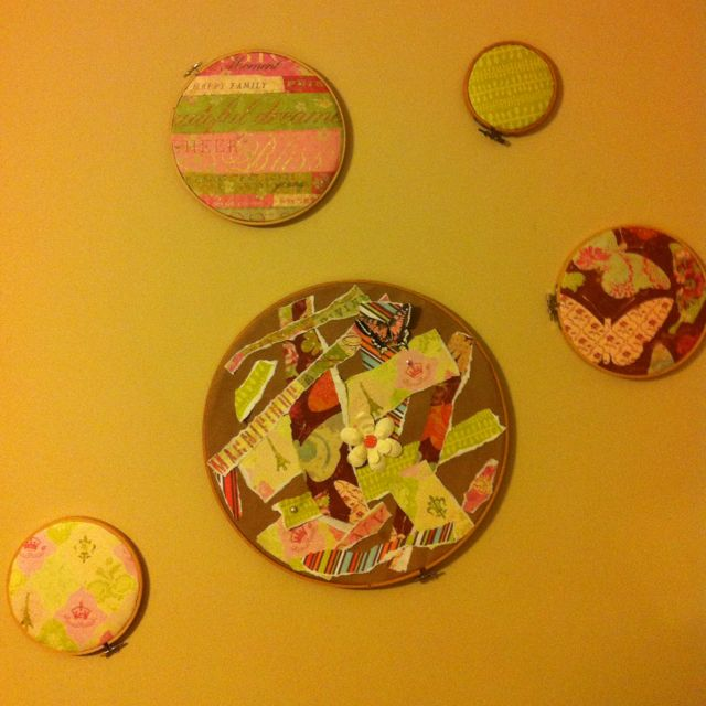 Embroidery Hoops and Scrapbook Paper Wall Art! | Craft Ideas ...