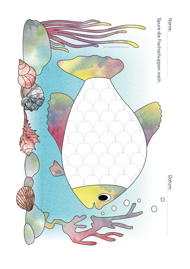 Fischschuppen Nachspuren Schreibvorbereitung Mit Spass Kinder Arbeitsblatter Kindergarten Ausmalen