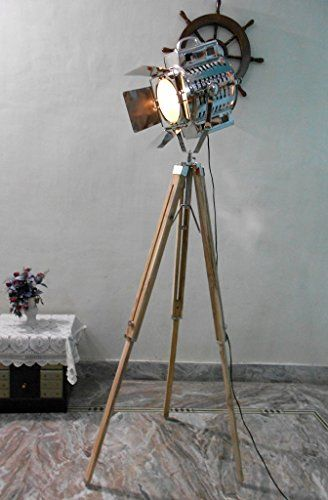 Nautical 1950s Hollywood Studio Vintage Design Industrial Tripod Floor Lamp Find Out More By Clicking The Image Nautical Floor Lamps Lamp Tripod Floor Lamps