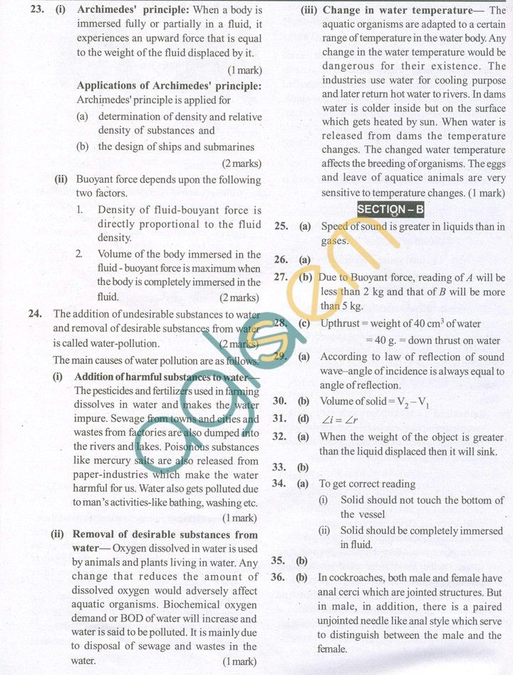 CBSE Solved Sample Papers for Class 9 Science SA2 - Set A ...