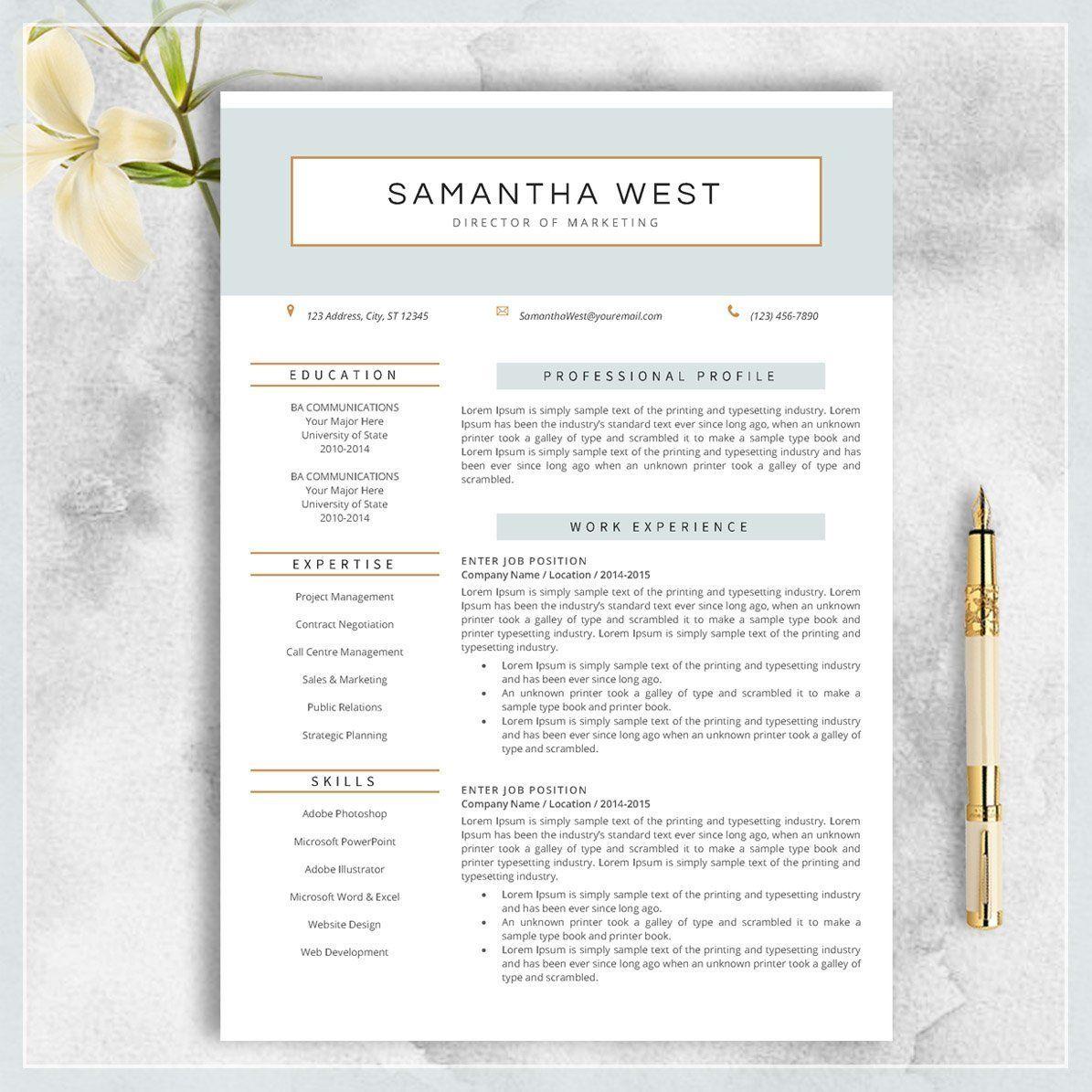 Resume Template CV Template for MS Word Modern Design