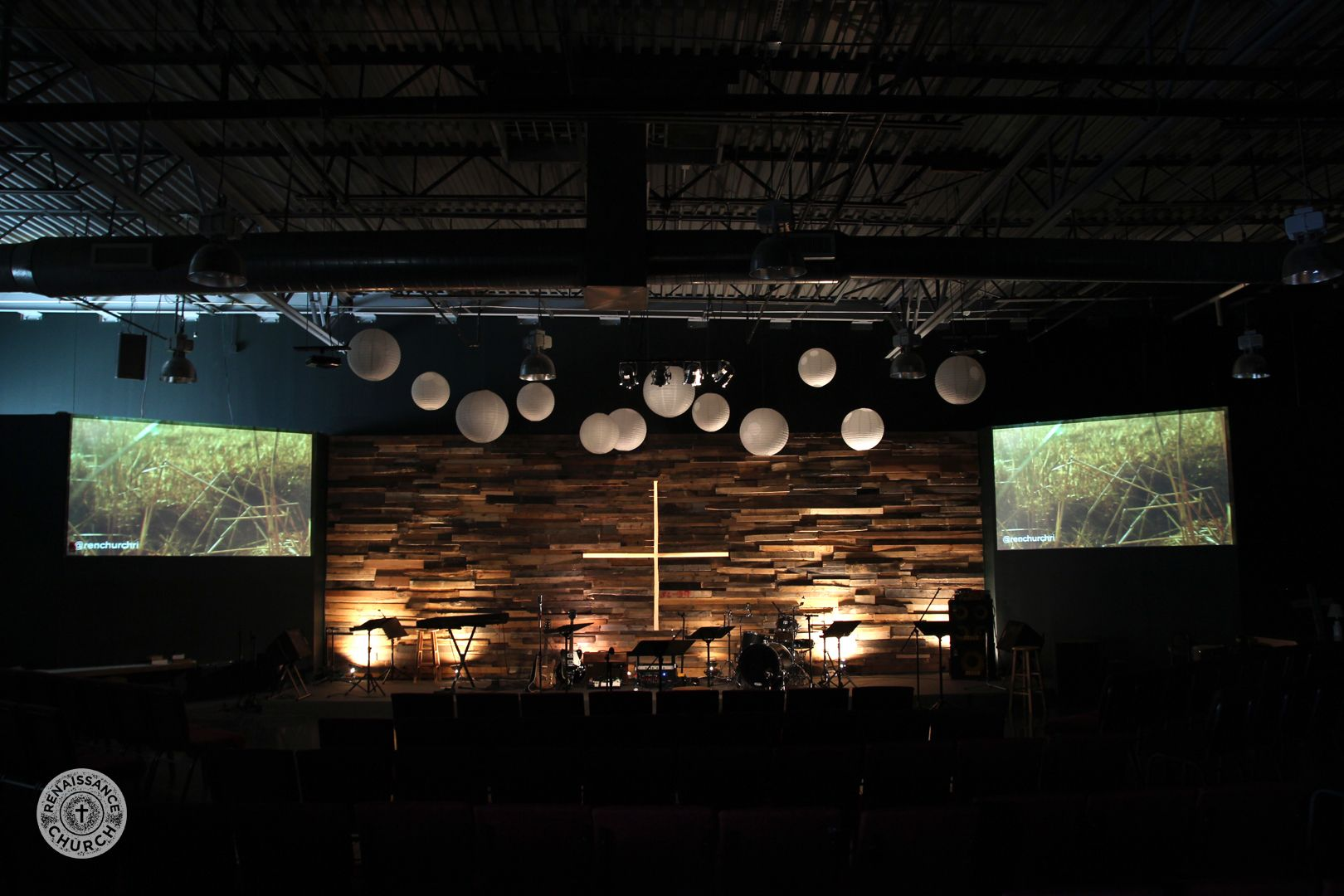 Church Altar With Floating Lights, Pallet Walk And 2