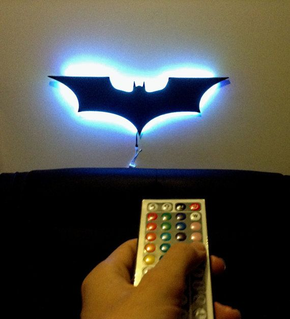 Your batcave with this multicolored led remote controlled backlite decorate your batcave with this multicolored led remote controlled backlite batman dark knight logo wall decoration nightlight mozeypictures Images