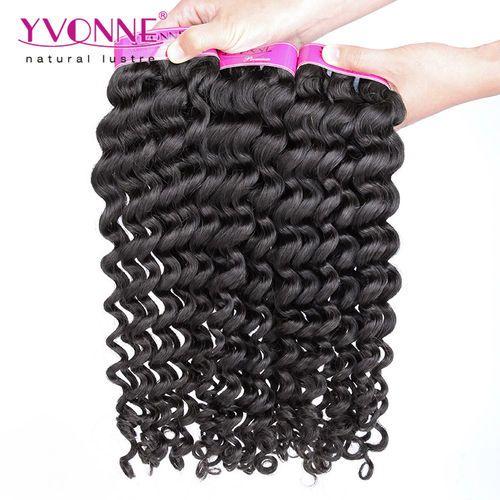 Grade 4A 100% Brazilian Deep Curl Virgin Hair Weave 1B Color