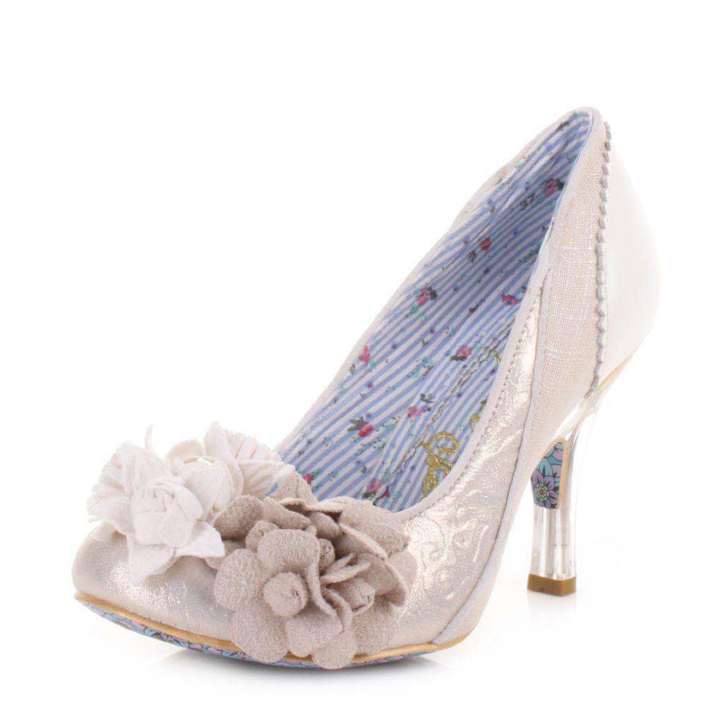Womens Irregular Choice Mrs Lower Off White Cream Wedding Court Shoes Size