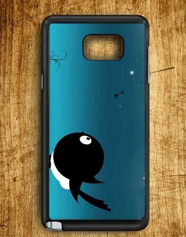 Black White Bird Seeing Night Sky Samsung Galaxy Note 5 Case