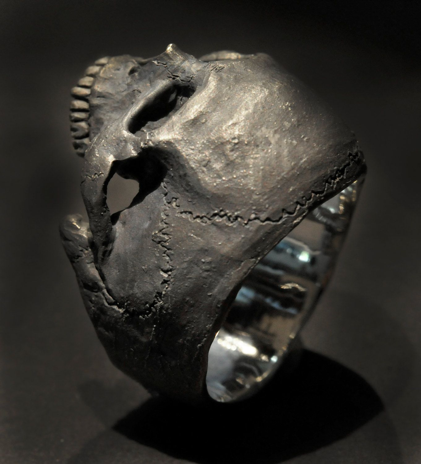 Two Tone Skull Biker Men/'s Engagement Ring Yellow Gold Finish In 925 Silver
