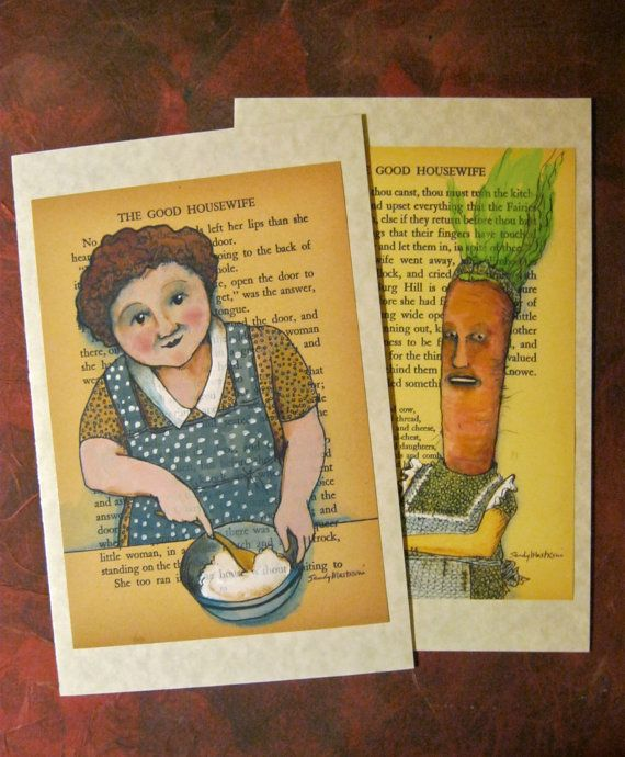 LARGE Greeting Cards Sandy Mastroni BIG Illustration On Book Carrot HousewifeHappy Birthday Get Well Or Hello