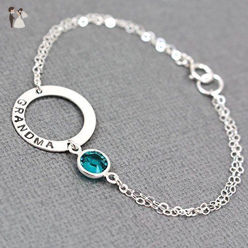 Silver Washer With Birthstone Bracelet Swarovski Grandma Bridesmaid Handmade Stone Wedding Bracelets
