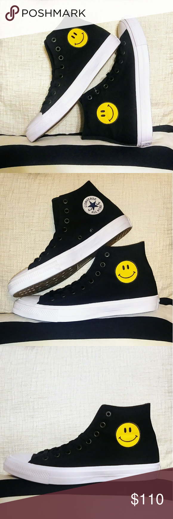 NWT Custom Smiley Face Converse Chuck Taylor Shoes - Custom