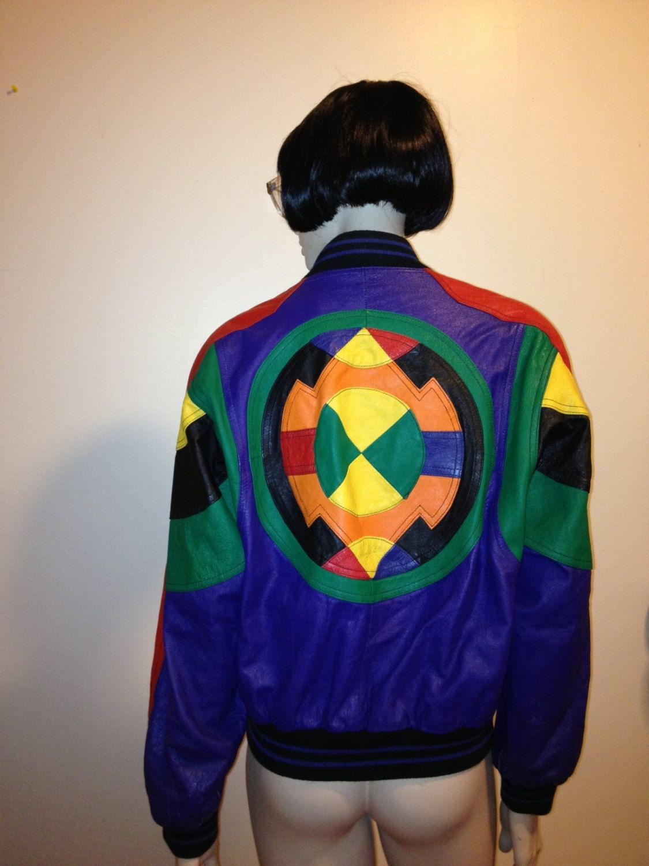 5e757606b WINLIT Vintage 1980s 80s mod pop colors Leather Jacket Womens Size S ...