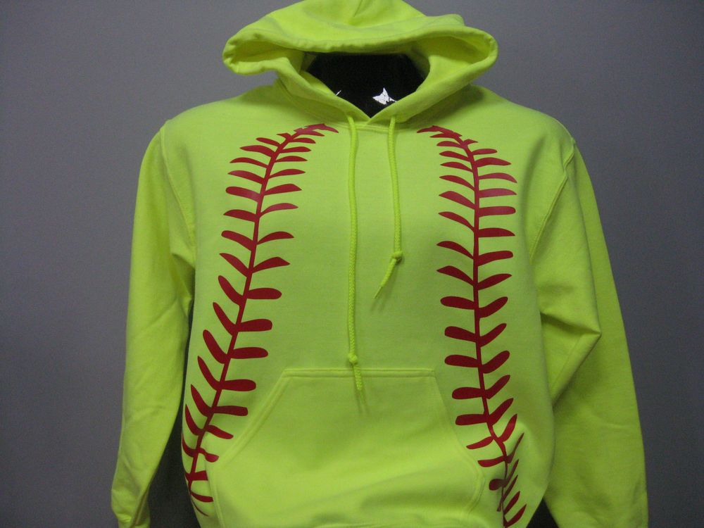 Neon Yellow Red Softball Graphic Hoodie Sweatshirt Adult Safety Green #Gildan #Hoodie