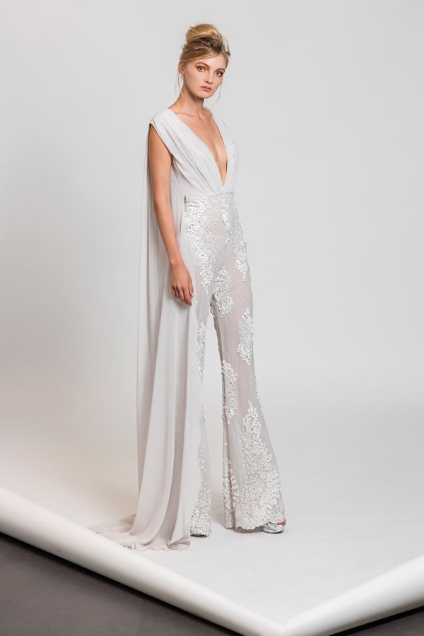 46e75d70897 Tony Ward RTW SS17 I Style 11 I Pearl white silk jumpsuit with deep V  neckline and embroidered tulle trousers
