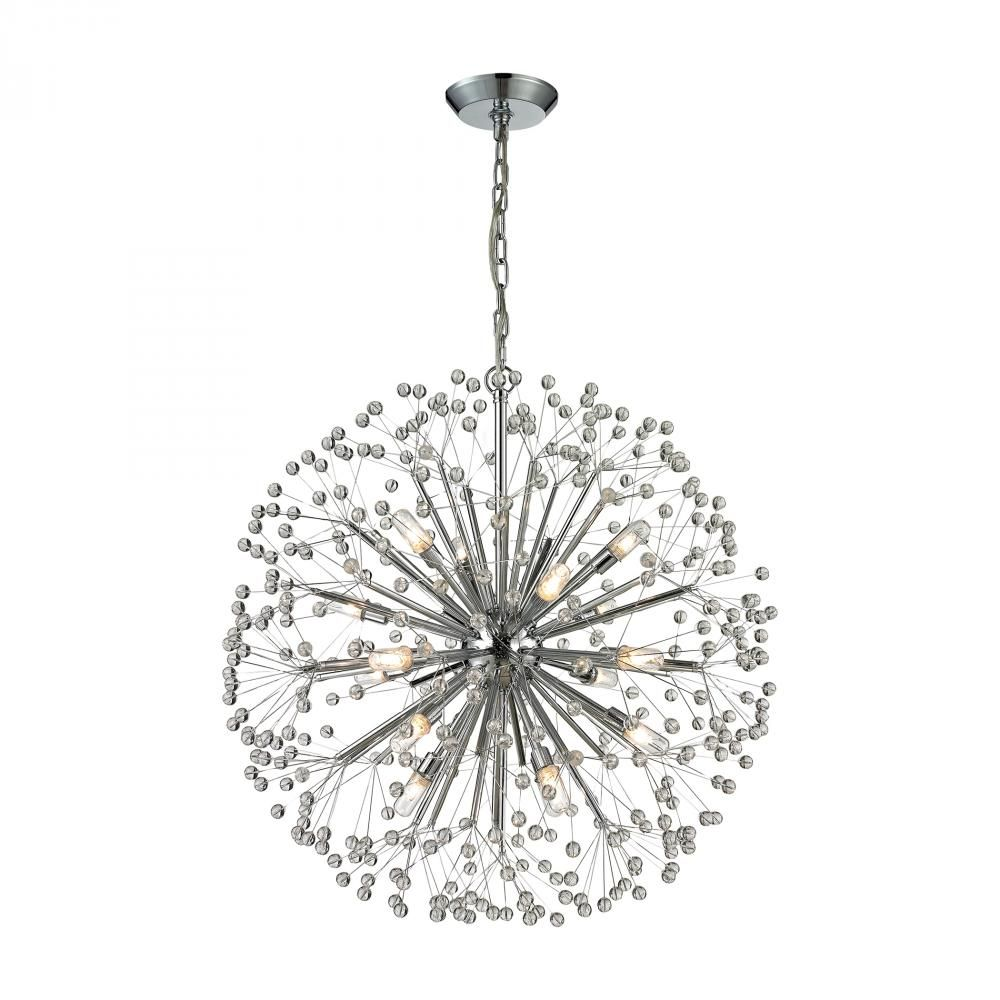 Starburst 16 Light Chandelier In Polished Chrome Dinning Light