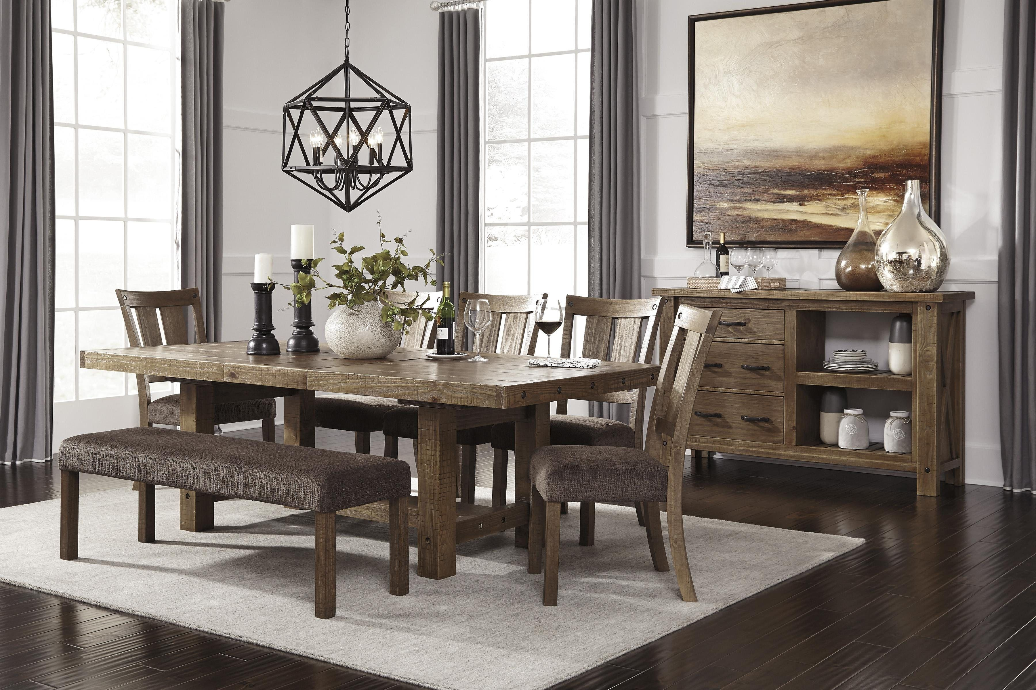 Interesting dining room table with upholstered bench