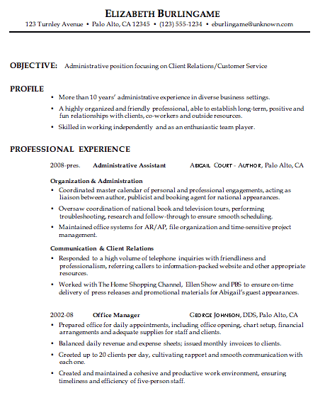 Combination Resume Sample: Administrative, Client Relations ...