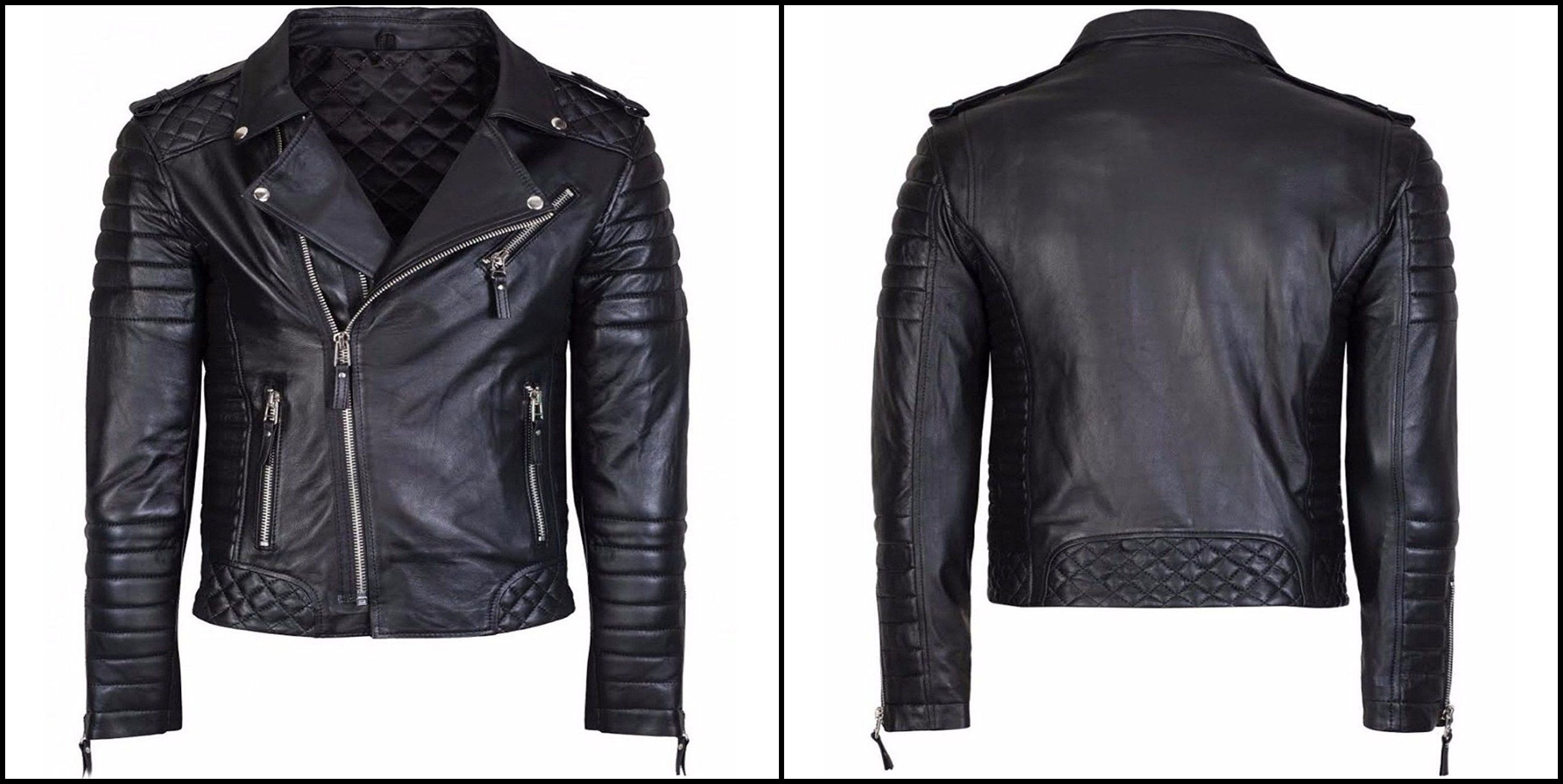 Mens Diamond Quilted Real Leather Black Slim Fit Kay Michael Style Biker Jacket