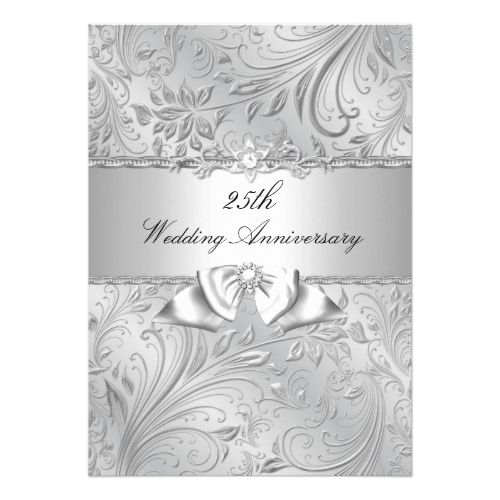25th Wedding Anniversary Invitations Silver Floral Bow Card
