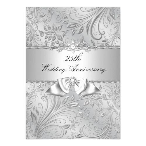 Wedding Anniversary Program Ideas: Silver Floral & Bow 25th Wedding Anniversary Invitation