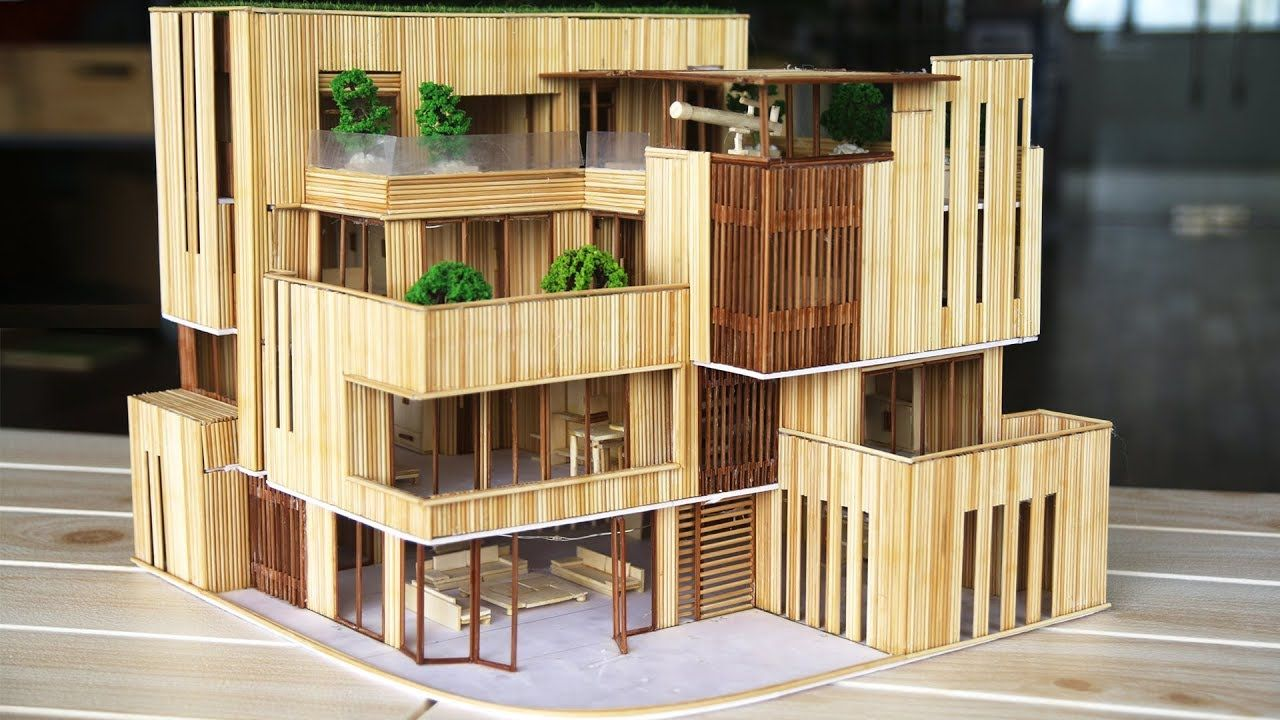Diy A Wooden Stick Mansion With Miniature Rooms And Furniture Youtube Miniature Rooms Cardboard House Model Homes