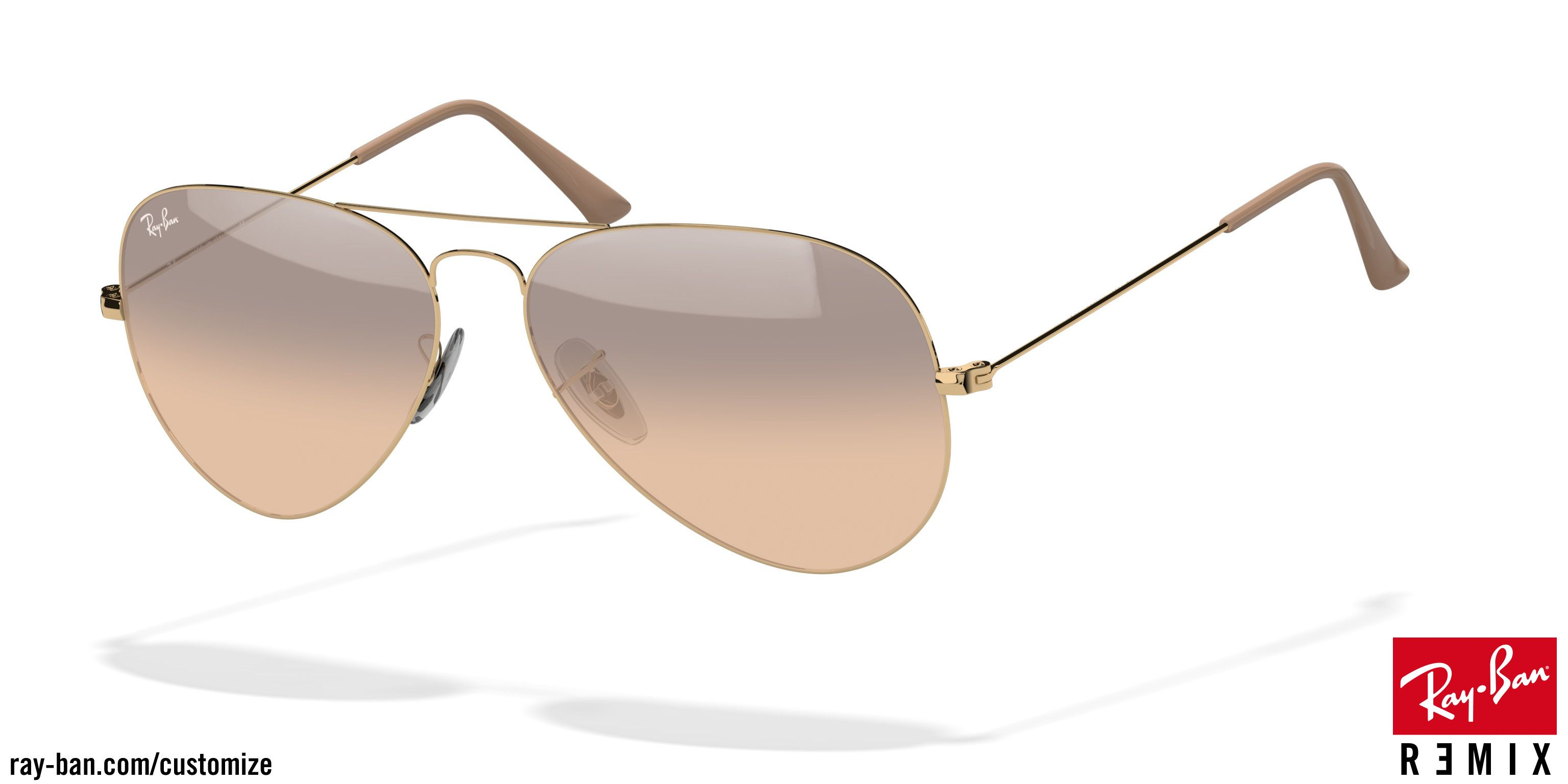6a579ce04 Custom Ray-Ban Aviator Sunglasses. Small size, gold frame, brown/pink/silver  mirror lens.