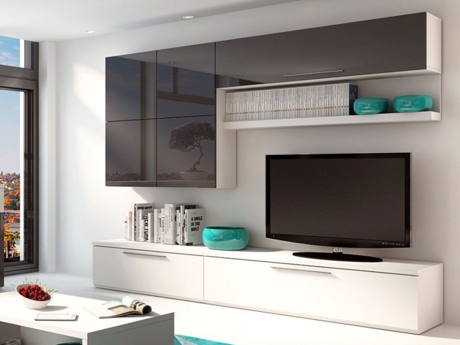 mur tv makasar avec rangements anthracite laqu blanc. Black Bedroom Furniture Sets. Home Design Ideas