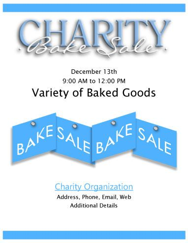 Charity Bake Sale Flyer Fundraisers Pinterest Bake sale - free fundraising flyer templates