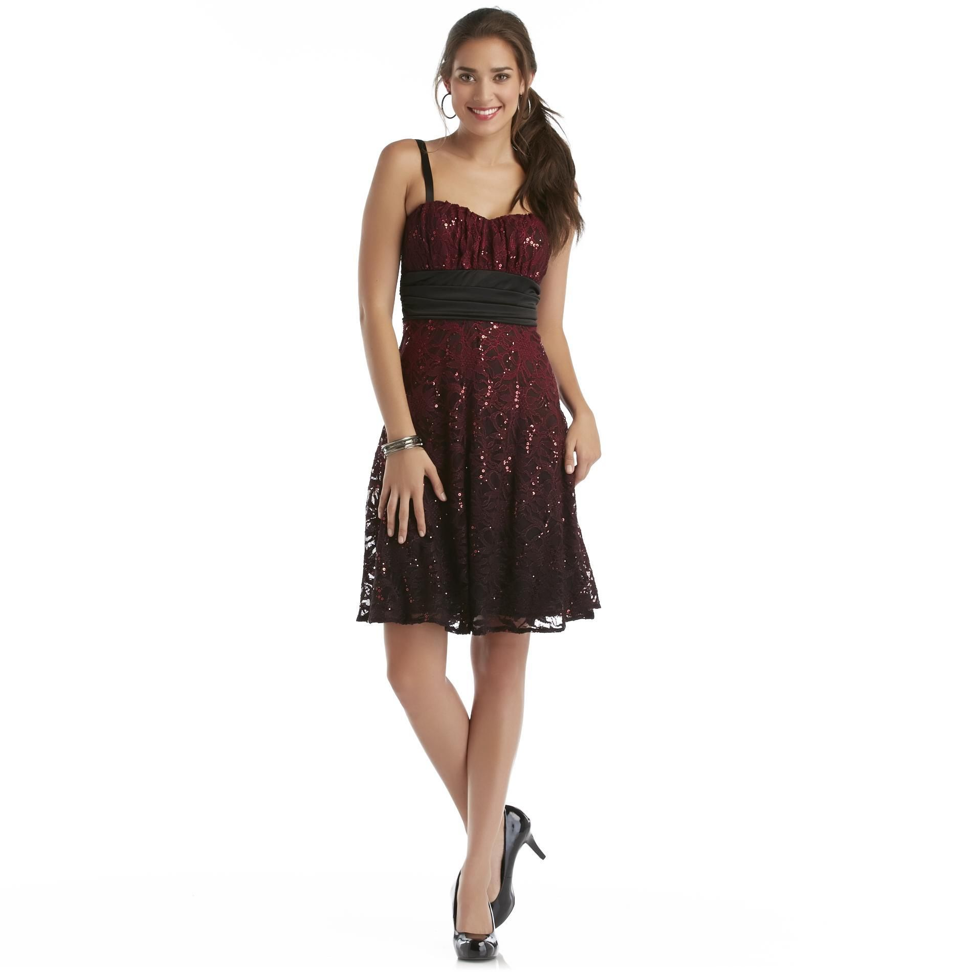 Kathy Roberts Womens Sequins Lace Sleeveless Formal Dress