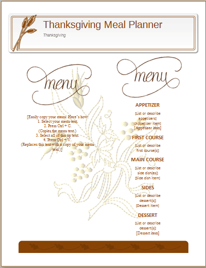 word thanksgiving template