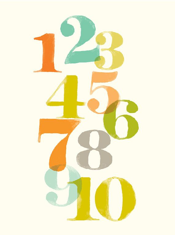 Numbers wall art, counting art for kids, nursery wall decor ...