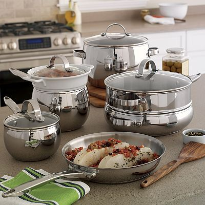 Food Network 11 Pc Potbelly Stainless Steel Cookware Set Food Network Recipes Cookware Set Stainless Steel Cookware