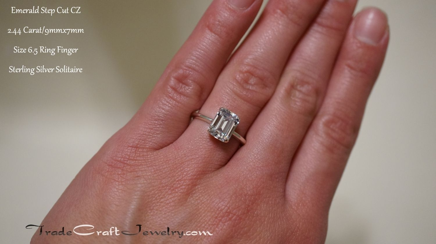 44f0921cf03bb Emerald Cut CZ Engagement Ring Sterling Silver Promise Ring Step Cut ...