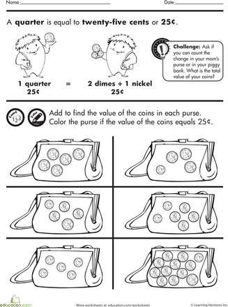 Coin Purse Counting Worksheet Education Com Worksheets For Kids Kindergarten Worksheets Pennies Worksheets