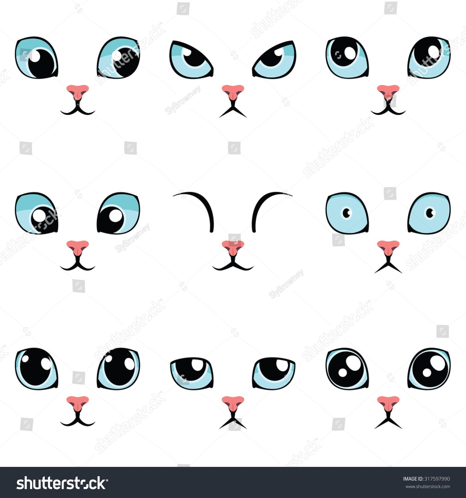 Set Of Funny Cartoon Blue Cat Eyes Isolated On White Vector Illustration Cat Face Drawing Drawing Cartoon Faces Cute Cartoon Eyes