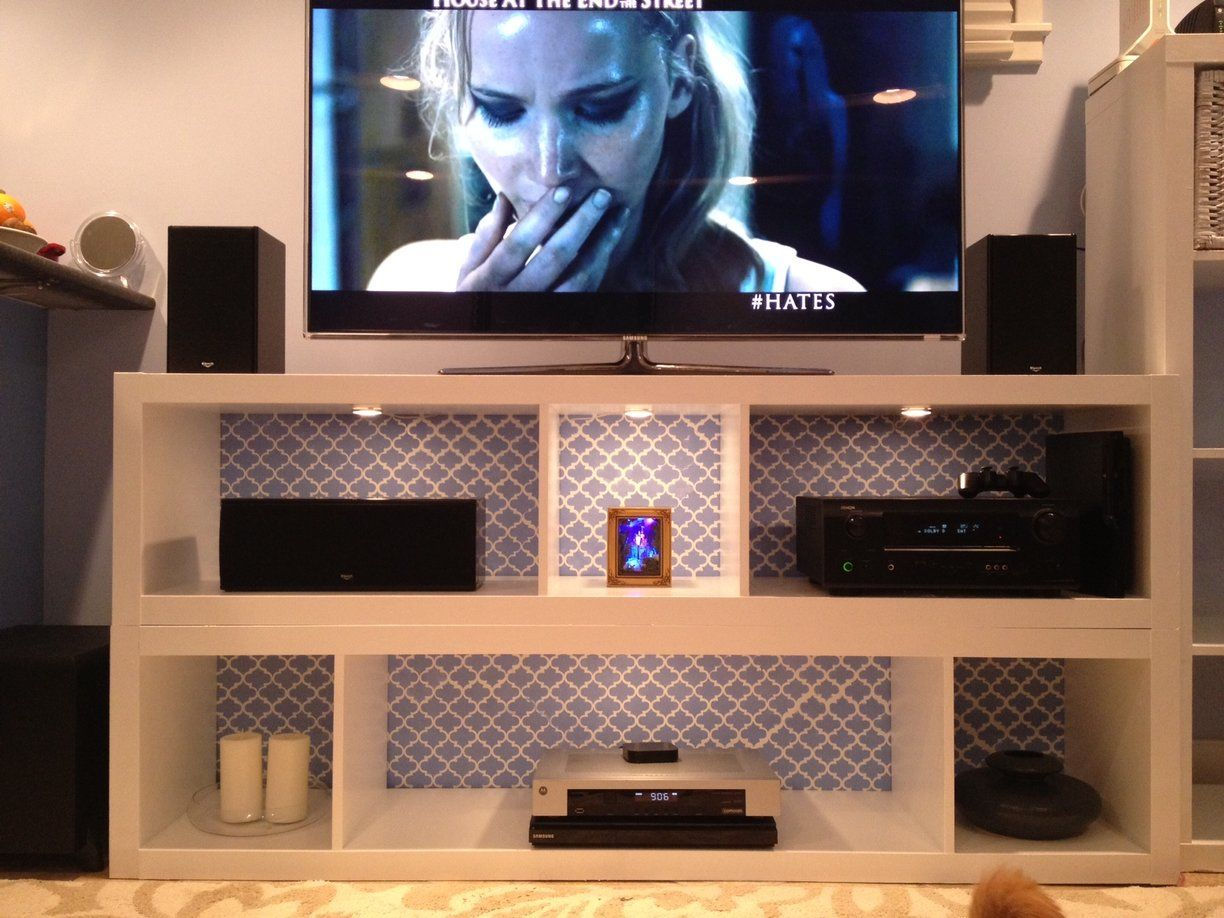 Pair of expedits turned tv stand with flashy interior for Ikea schreibtisch malm weiay