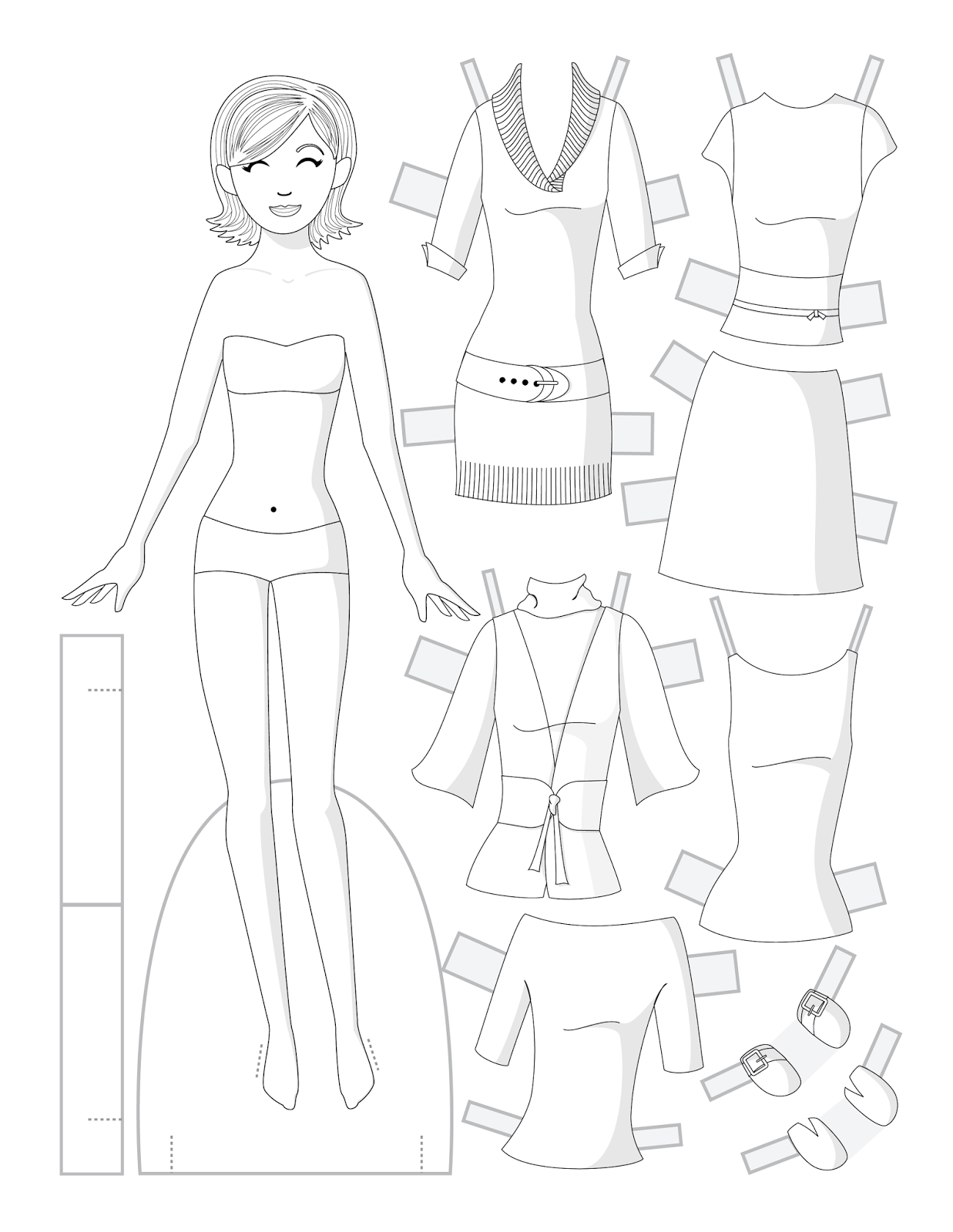 paper doll template - HD 1237×1600