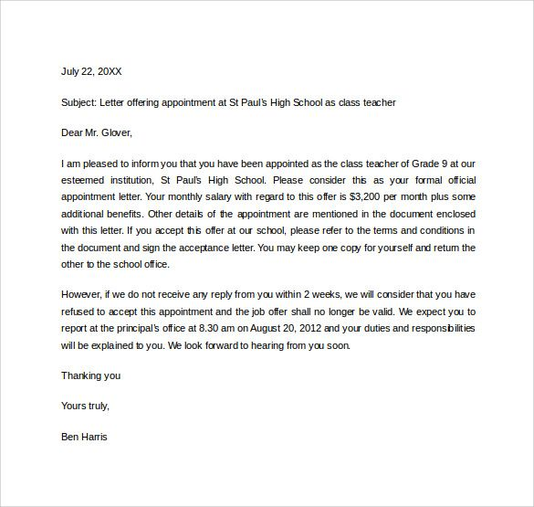 Appointment Letter For Employee School Teacher Letters  Home