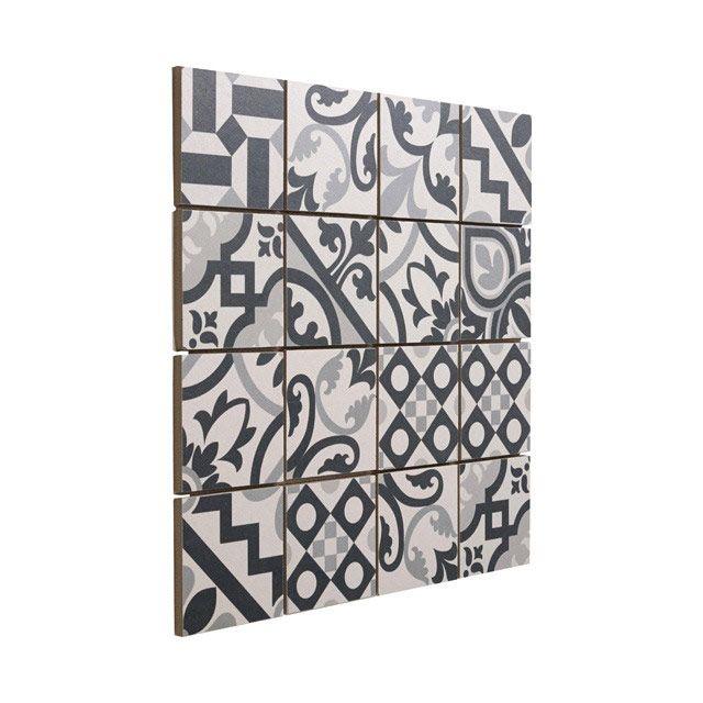 Mosaïque carreaux de ciment blanc/noir 7 x 7 cm - CASTORAMA   mur ...