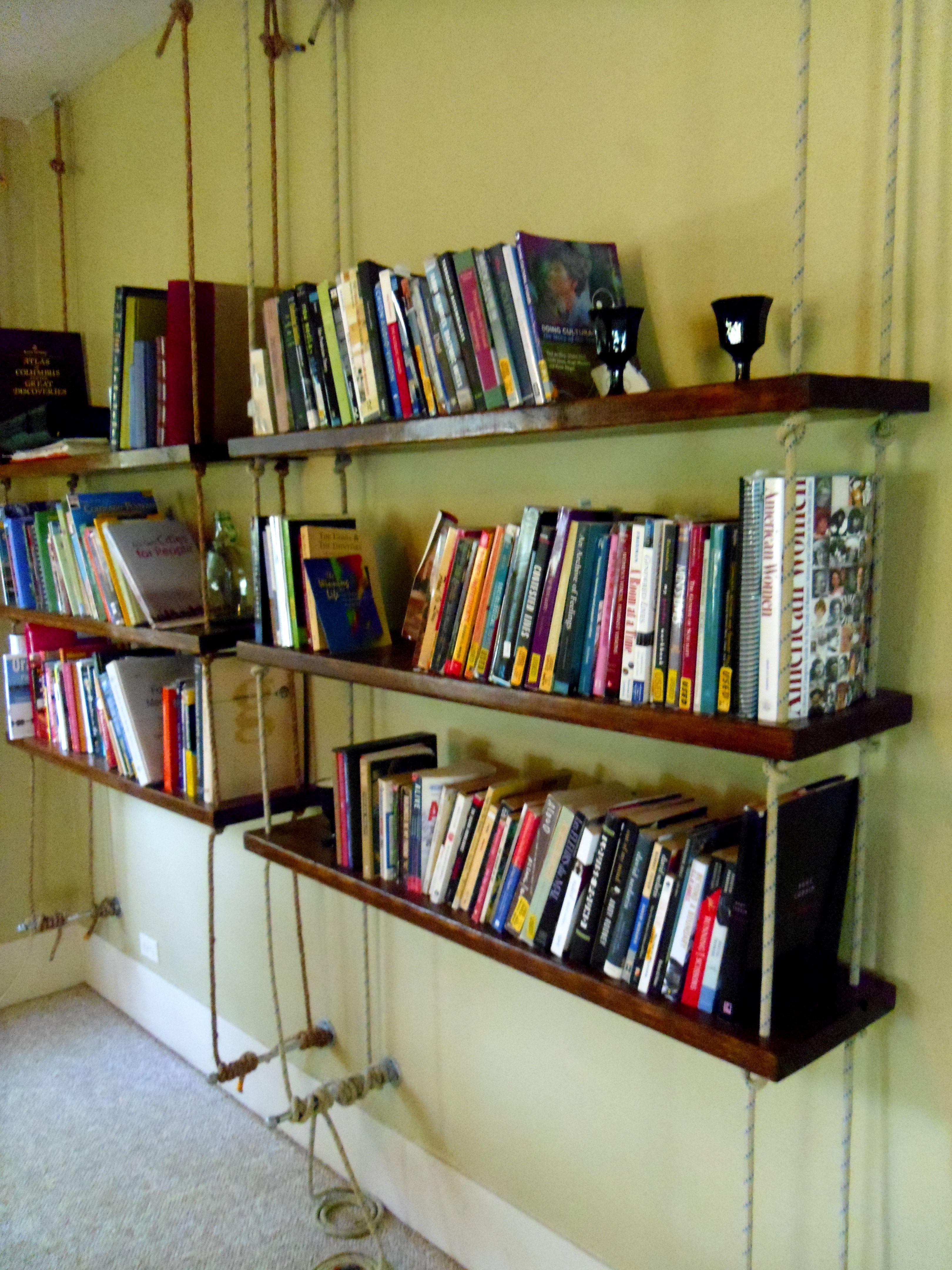 Hanging Bookshelves Hanging Bookshelves Climbing Rope And - Diy build industrial hanging shelf