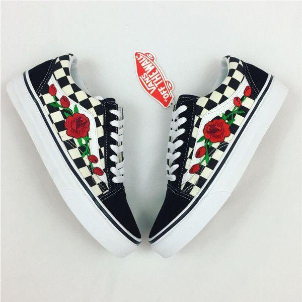 5750261b7653 Custom Checered Vans Old Skool Vans Rose Vans Womens Sneakers Unisex...  ( 100