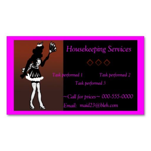 Housekeeping maid services business card Maids, Business cards - housekeepers resume