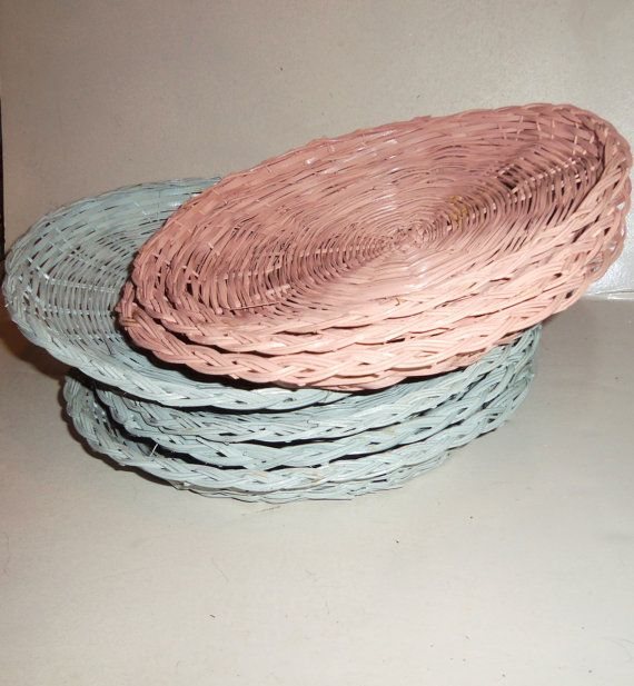 Vintage Wicker Paper Plate Holders LOT of 7 in Pastel by Avaricia $14.99 : wicker paper plate holder - pezcame.com