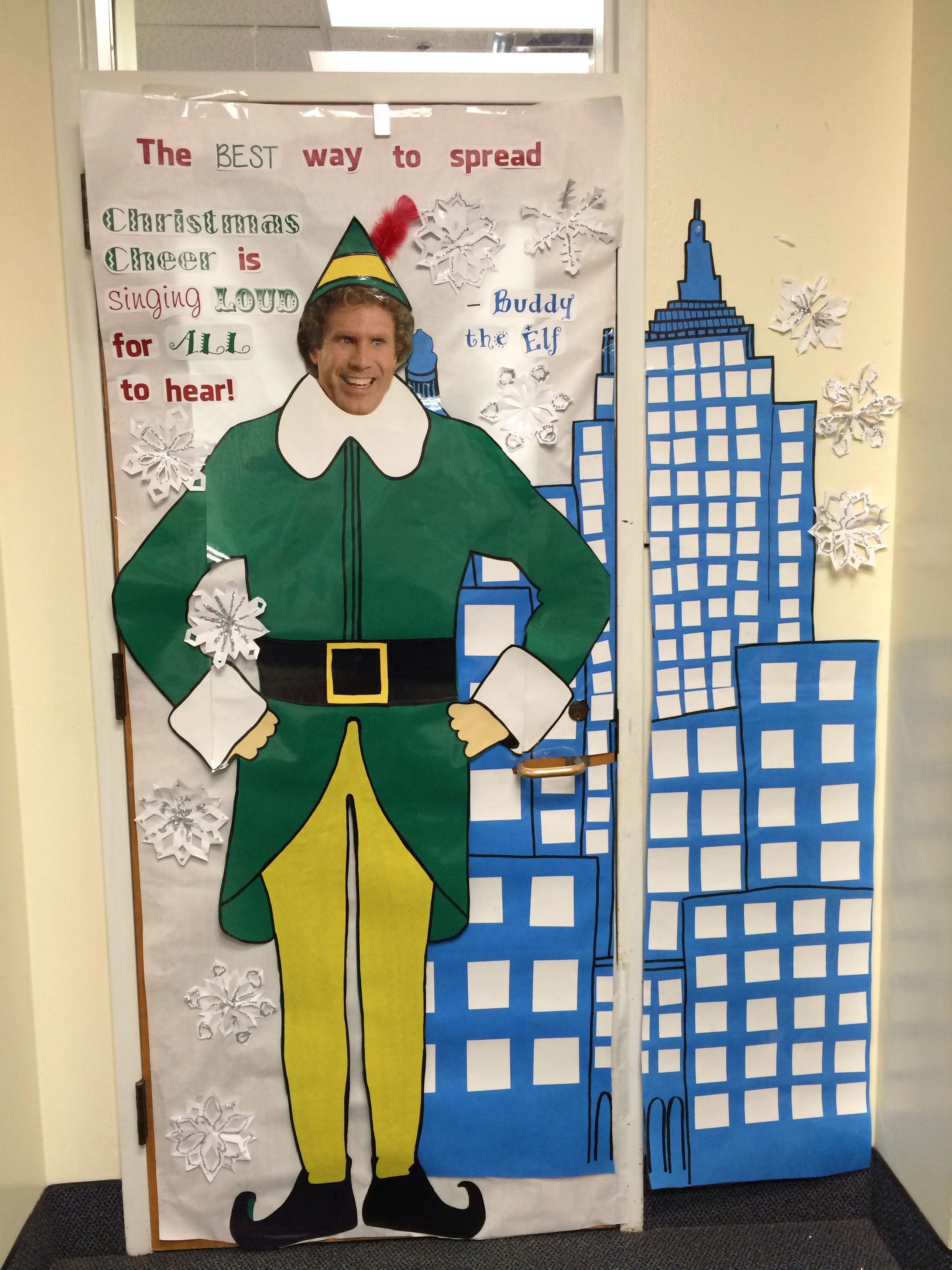 Christmas classroom door decorations buddy the elf for Works elf door