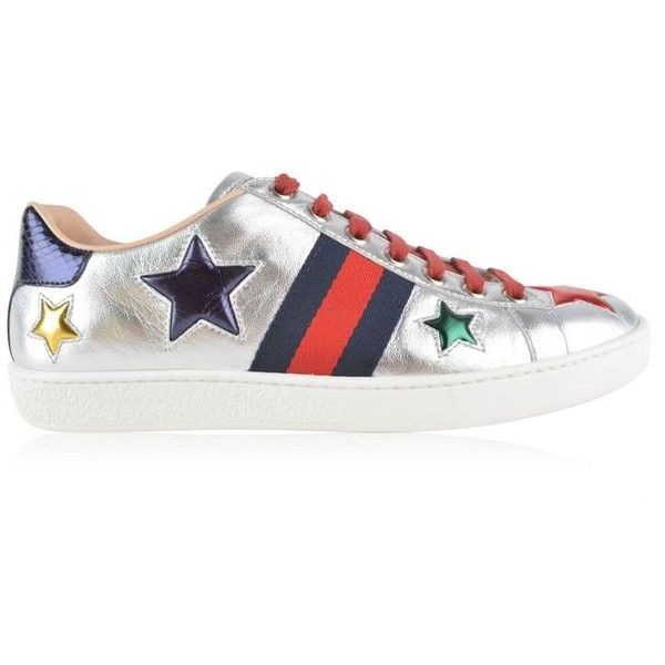 e934fee32 Gucci Ace Star Patch Trainers ($505) ❤ liked on Polyvore featuring shoes,  sneakers, silver, leather shoes, leather lace up sneakers, low top, gucci  shoes ...