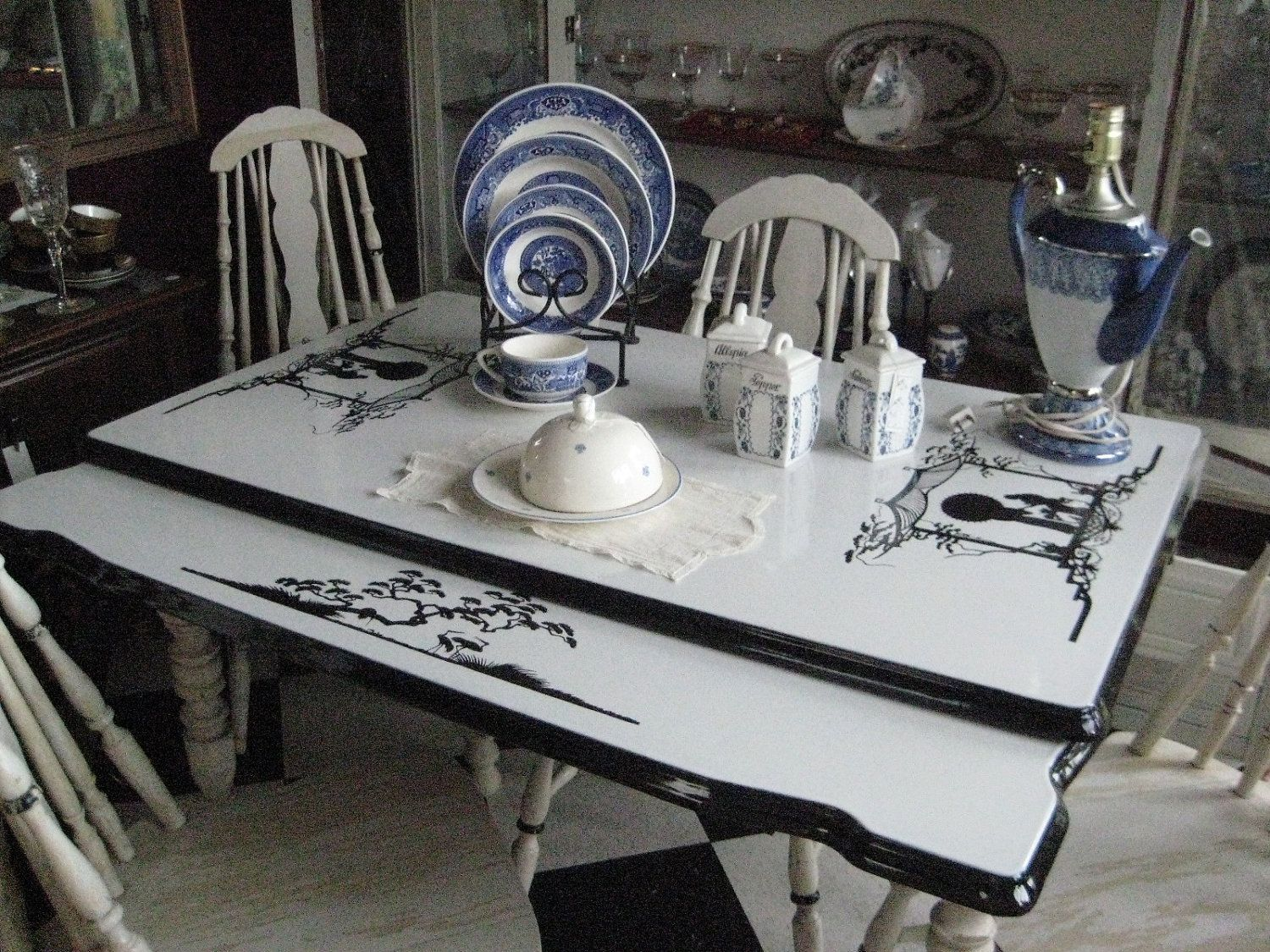 1930's Enamel Top Country Kitchen Table/Chairs Set ...