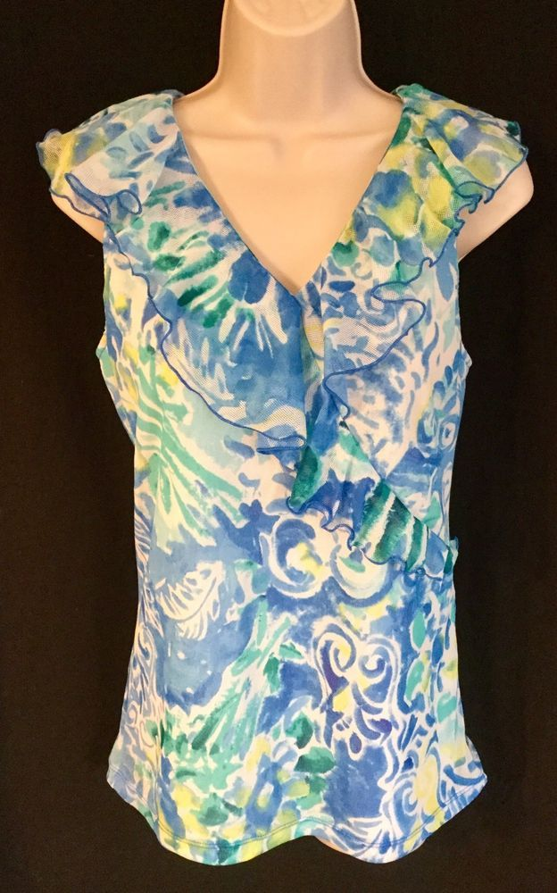 Womens Chaps Large Blue/White Floral Mesh Ruffle V-Neck Sleeveless Top   | eBay